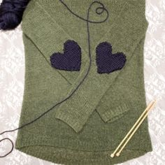 Knit some heart-shaped elbow patches to spruce up an old sweater. very cool, thanks so xox
