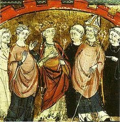 Dagobert Ier reçoit le royaume Franc par les évêques et les grands de Burgondie. Bibliothèque municipale de Castres. XIV°s- DAGOBERT 1°- 3)BIOGRAPHIE 3.3: ROI DES FRANCS, 1: Dès le décès de CLOTAIRE II (18 octobre 629), un messager lui transmet une invitation aux funérailles de son père à Paris Le roi est enterré à l'église saint-Vincent.