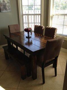 "James+James: Farmhouse Table 6' x 37"" x 30"", All Dark Walnut. Matching Farmhouse Bench"