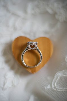 Wedding Ring with Heart Detail| Rustic Yellow Themed Barn Wedding|Photographer:  LeAnna Theresa Photography
