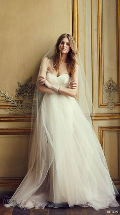 bhldn spring 2016 strapless sweetheart neckline tulle aline ballgown tulle skirt wedding dress (bella) gown