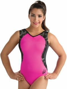 53a7fc346f69 Our first style in all of Aly Raisman gymnastics leotards is a retro look  with our Lime and Berry Alexandra Raisman Tank Leo This GK classic workout .