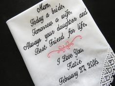 Free Gift Box Included. Embroidered-Lacy Mother Of The Bride Wedding Handkerchief.