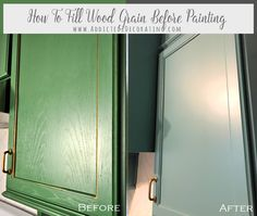 Remodeling Kitchen Cabinets How To Fill Wood Grain On Oak Cabinets Before Painting - How To Fill Wood Grain On Oak Cabinets Before Painting Oak Kitchen Cabinets, Built In Cabinets, Kitchen Paint, Kitchen Furniture, Kitchen Decor, Kitchen Ideas, Kitchen Designs, Kitchen Updates, Primitive Furniture