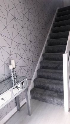 I LOVE WALLPAPER Zara Shimmer Metallic Wallpaper Soft Grey, Silver (ILW980109). A beautiful, unique twist to your home. #Wallpaper #ilovewallpaper #Home #Homeinterior #InteriorDesign #Hallway #HomeInspo #Geometric #Wall #FeatureWall