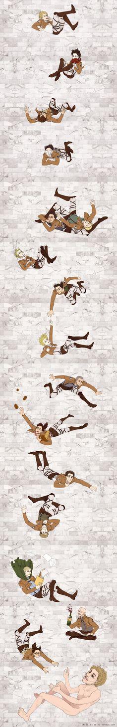 Armin, Mikasa, Eren, Levi, Reiner, Hoover, Annie, Ymir, Krista, Connie, Sasha, Marco, Jean, Erwin, Pixis, Hanji ... Titan. I love this (: especially Levi & Sasha.