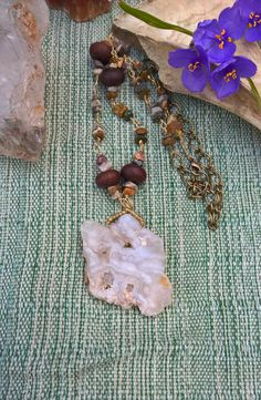 Raw White Mexican Agate with Handwrapped Jasper Chip Necklace, Handmade, OOAK by SaracenProvisions on Etsy