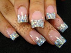 """Acrylic Rockstar nails with one color.  Even several years after the coining of the term """"Rockstar Nails,"""" I continue to find mysel. Gorgeous Nails, Love Nails, How To Do Nails, Pretty Nails, Fun Nails, Glitter French Tips, French Nails, Glitter Tip Nails, Beautiful Nail Designs"""