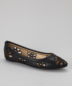 Another great find on #zulily! Nature Breeze Black Floral Cutout Stockholm Flat by Nature Breeze #zulilyfinds