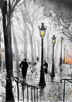 "Saatchi Art Artist: Loui Jover; Pen and Ink Drawing ""montmartre stairs"""