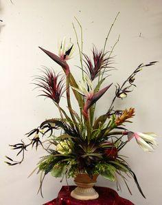 #Tropical bird of paradise , black and grey floral arrangement