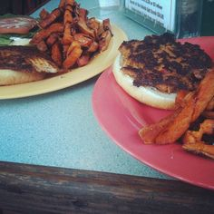 Grilled fish & crab cake sandwiches w/ sweet potato fries & balsamic at North Beach Bar & Grill on Tybee Island