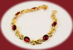 Vintage Avon Red Ruby Gold Braclet And Red by IRENESVINTAGEBLING