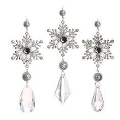 RAZ Imports - Silver Snowflake Drop Ornaments