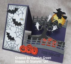 Handmade Halloween Side-Step Card from Carolyn Green, using the Spooky Fun Stamp Set and Halloween Scenes Edgelits Bundle from Stampin' Up!