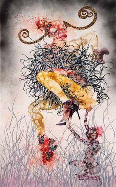 Mythologies, another delightfully bizzare piece by Wangechi Mutu #painting #visualart #africanartists