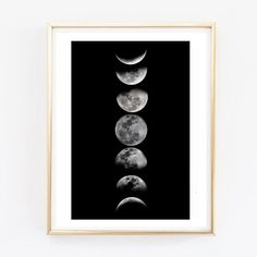 moon phases brandy melville painting print room decor Typographic Print girly wall decor frame quote bedroom office tumblr room decor 8x10