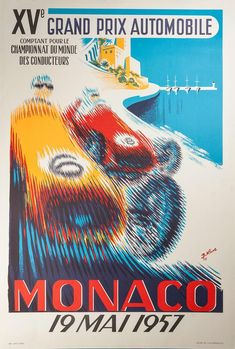 "Lithograph by B. Minne entitled ""Monaco Grand Prix The Lithograph is inches in height by inches in width and the image area measures inches in height by inches in width. The year of this Lithograph is 1995 and it's from an edition size of The ""Monaco Custom Posters, Vintage Posters, Monaco Grand Prix, Automobile, Art Furniture, Wrapped Canvas, Art Prints, Poster Prints, Poster"