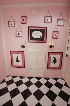 This is our pink Alice in Wonderland room.  It made for a very unique nursary and now serves as a really fun art studio.  We tiled the wall and put a door and art work on the ceiling.  Enjoy!   http://www.heatherholme.com/wordpress/the-alice-room