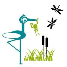 Čáp chytil žábu. Originální samolepka na zeď v  moderních barvách. Capes, Yoshi, Cape Clothing, Mantles, Cape