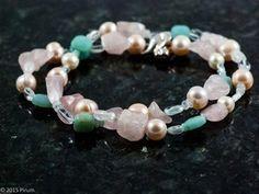 Halsband med vårpasteller, stenar och pärlor - Springtime with rose quartz, amazonite and pearls