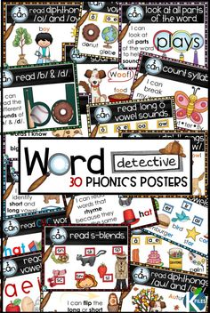 Word Detective themed Phonics and Word Study posters for your literacy block!  These anchor charts will provide visual reminders of reading and phonics strategies.  Works perfectly alongside Words Their Way or any Spelling and phonics program.  Assign your students a Phonics goal and give them a goal card or brag tag as a reminder to utilize their Word Detective skills as they decode unfamiliar words. Perfect for Reader's Workshop and Guided Reading activities.