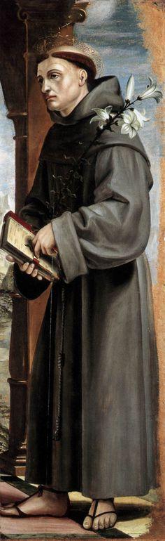 ZENALE, Bernardo  Italian painter (b. 1464, Treviglio, d. 1526, Milano)  St Anthony of Padua  1502-07  Panel, 98 x 31 cm  Museo Poldi Pezzoli, Milan