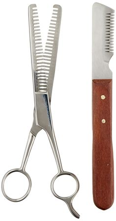 TAMSCO Trimming Kit, Stripping Set of 2, Leather Case, Double Tooth Thinning Shear, Medium Stripping Knife, Great for Horses, Stainless Steel *** Want additional info? Click on the image. (This is an affiliate link) #MyPet