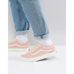 Vans Old Skool Trainers In Pink VA38G1QSK (125 AUD) ❤ liked on Polyvore featuring men's fashion, men's shoes, men's sneakers, pink, mens pink sneakers, mens slip on sneakers, mens canvas slip on deck shoes, mens slip on shoes and mens slipon shoes