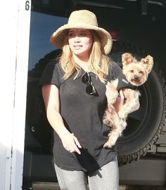 HILARY DUFF Out with Her Dog in west hollywood  actress Hilary Duff