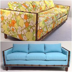 Before & After- this bamboo sleeper sofa got a makeover with gorgeous blue linen upholstery. More transformations at www.scoutdesignstudio.com #wescout