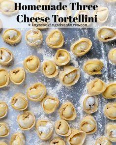 Homemade Three Cheese Tortellini Amy's Cooking Adventures: Homemade Three Cheese Tortellini How To Make Tortellini, Homemade Tortellini, Cheese Tortellini Recipes, Tortellini Pasta, Pot Pasta, Homemade Pasta, How To Cook Pasta, Pasta Dishes, Cheese Ravioli Recipe