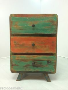 Retro Chest Of Drawers Indonesian Teak Boat Wood Hand Made Small