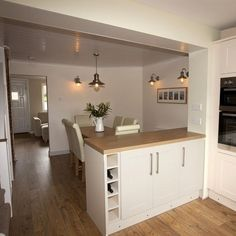 kitchen diner and lounge design images Small Open Plan Kitchens, Open Plan Kitchen Dining Living, Open Plan Kitchen Diner, Lounge Design, Kitchen Family Rooms, Living Room Kitchen, Dining Rooms, Style At Home, Kitchen Extension Layout