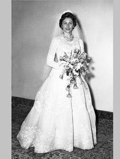 kongehuset.no:  Norwegian Royal Website-Wedding of Princess Astrid of Norway and Johan Martin Ferner, January 12, 1961-Princess Astrid in her wedding dress