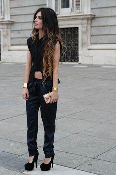 ambre babzoe pants, h & m vest, h lace top, mango bracelets, accesorize clutch, best shoes buy at c/montera shoes. 12/13/11