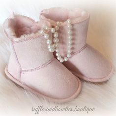 How perfect are these gorgeous pink booties! We still have size 789 in stock