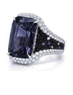 10.29 carat Emerald cut Gray Spinel Ring
