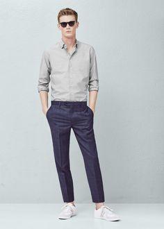 Modern slim-fit cotton shirt - Shirts for Men | MANGO Man USA