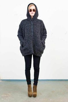 / Tsumori Chisato hooded zip through spotted coat