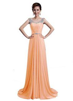 Dlfashion Women's Scoop Neck Sweep Train Beaded Chiffon Dress at Amazon Women's Clothing store: Formal
