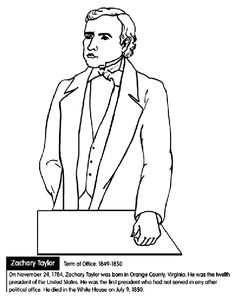 us president zachary taylor coloring page