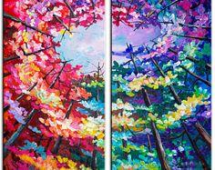 Pintura de paisaje original horizonte bosque arte multi color