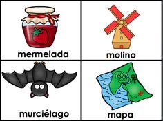 Flashcards for M Words - Spanish Alphabet - palabras con M - tarjetas de memorizacion para silabas con M (ma, me, mi, mo, mu)