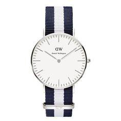 Daniel Wellington 0602DW Women's Watch Classic Glasglow Blue/White Nylon Strap
