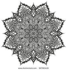 Mandala Vector tattoo. Perfect card for any kind of design, birthday and other holiday, kaleidoscope, medallion, coloring book. Yoga, india, arabic, Islam motifs. Black background.