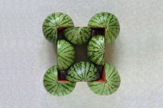 Kudos for this creative series of photographs depicting various geometric graphic creations realized with fruits and vegetables by Turkish artist and