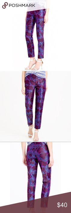"""J. CREW - Purple Floral Brocade Ankle Pants 0 / XS J. CREW Blue / Purple Floral Brocade Ankle Pants  Size 0 / XS Brand New With Tags! Retail: $128.00  Measurements (flat): Waist - 14.5"""" Rise - 9"""" Length - 35.5"""" Inseam - 26.5"""" Leg Opening - 6""""  58% Viscose 42% Cotton  Bundles Welcome! NO PAYPAL! Please allow 2 days handling!  Thank you! 😊 J. Crew Pants Ankle & Cropped"""
