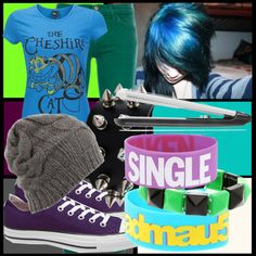 """Emo/scene blue gray purple black gray white ;)"" by supermuffinslayer ❤ liked on Polyvore"