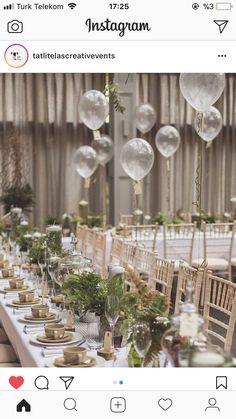 Simple yet elegant-dream table decor for my botanical engagement theme Wedding Ideias, Clear Balloons, Wedding Table Decorations, Picnic Decorations, Wedding Balloons, Wedding Reception, Reception Ideas, Wedding Entrance Table, Wedding Flowers